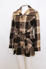Vintage brown check boyfriend wool 60s 70s pea mod blanket coat jacket S M