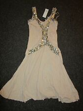 BNWT £40 TopShop Dress  UK 8 Pink Nude Silver Sequins Pattern Party Occasion