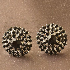 Fun New Silver Plated Black Crystal Cluster Round Button Style Stud Earrings