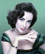 Elizabeth Taylor Color 8x10 Photo BEAUTIFUL IN EMERALD GREEN DRESS