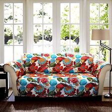 LUSH DECOR MULTI-COLOR COTTON QUILTED FLORAL SOFA COVER SEAT WIDTH UP TO 69""