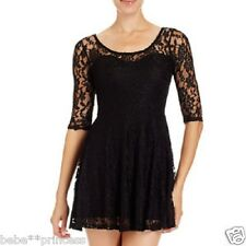 NWT bebe black overall lace floral stretchy party flare top dress club S small 4