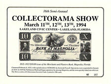 1994 Collectorama Souvenir Card - $10.00 M & P Bank at Magnolia, Florida  L4sc