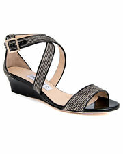 NIB $695+ Jimmy Choo CHIARA Black & Natural Low Wedge Sandal Shoe Sz 38 -8