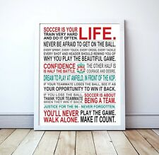 "Soccer Is Your Life - Liverpool FC Custom Manifesto Poster, 17"" x 22"""