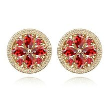 18K Gold Plated Genuine Swarovski Crystals Daisy Flower Round Stud Earrings