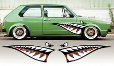 2 X DENTS DE REQUIN ROUILLE RAT'S VW 125cmX35cm AUTOCOLLANT STICKER AUTO SA147