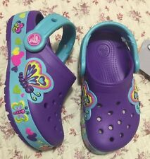 Crocs Girls Crocband Light Up Butterflies Girls Shoes Size 10 Purple