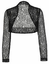 Womens Crop Long Sleeve Cropped Bolero Shrug LACE Cardigan Jacket Tops Plus Size