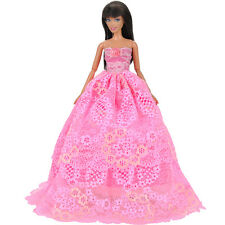 Dolls Clothes Prom Dresses Pink Evening Party Gown Dress Up for Barbie Doll S