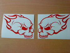 "red skull flames 7x5"" vinyl decals graphics stickers motorbike tank car side vw"
