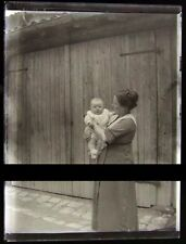 PLAQUE VERRE PHOTO NEGATIF circa.1914 MERE ET FILS mother & son  (B28)
