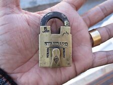 An old or antique solid brass small miniature padlock lock with key RARE shape
