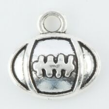 100Pcs Tibetan Silver Rugby Football Sports Charms Pendant Beads Jewelry Finding
