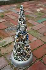 OOAK Made from Vintage Jewelry Rhinestone Stand Alone Cone Shape Christmas Tree