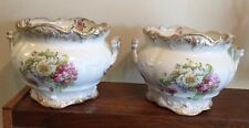 "Pair Of Antique Semi Porcelain Jardinieres 7 1/2""t By 9"" Trenton USA Ca 1908"