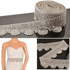 Hand Beaded Bridal Border 1 YD Trim Silver Craft Lace Mirror COLLECTIBLE EDH