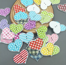 50  Wooden Buttons Sewing Scrapbooking LOVE Heart  2 Holes Lattice Pattern 20mm