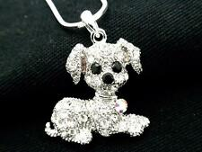 Dog Puppy Pendant Women w Austrian AB Crystal Necklace Silver Plated New