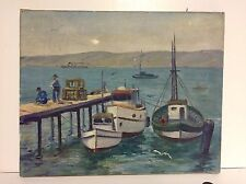 1936 Small Oil Painting Fishing Boats On Long Wharf Signed Houstey Folk Art Look