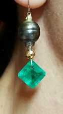 1ct Emerald Tahitian pearl earrings solid 14k gold necklace