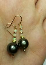 Tahitian Black pearl earrings Ethiopian Fire Opal solid 14k gold dangle drop