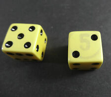 """Vintage 2 Bakelite Dice off white with black dots 1/2"""" - Interesting 5 overlay"""