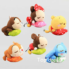 "Tsum Tsum 4.3"" Mickey Minnie Mouse Stitch Plush Toy Soft Doll Cuddly Figures 6X"