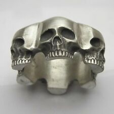 MJG STERLING SILVER 6 SKULL WEDDING BAND @ 34 GRAMS. BIKER.GUITAR PLAYER. SZ11.5