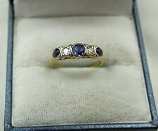 Gorgeous Vintage 18ct Gold Sapphire And Diamond Ring Small Size H