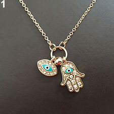 Fatima Hamsa Refined Hand Necklace Blue Evil Eye Chain Pendant Lady Jewelry
