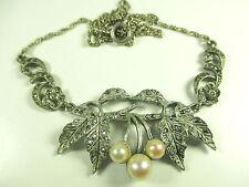 835 Silber Collier Perlen Kette Markasit Vintage 50er 60er silver neclace _53 N4