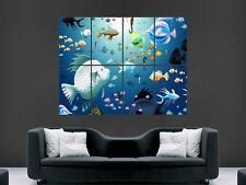 HAPPY FISH CHILDRENS NURSERY  IMAGE  GIANT POSTER PRINT ART