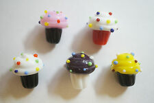 5 Handmade Lampwork Glass Cupcake Beads SRA - Mix