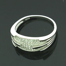 Sterling Silver Cubic Zirconia Micro Pave Set Ring Size P