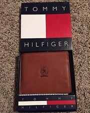 Vintage Tommy Hilfiger Tan/Brown Genuine Leather Men's Wallet Bi-Fold Rare Logo