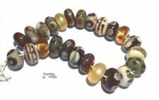 EQUINOX Handmade Lampwork Beads Mix of Ivory Cream Olive Sienna Brown Gold Warm