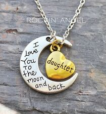 Antique Silver Plt 'Love You To The Moon & Back Daughter' Necklace  Ladies Gift