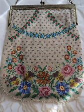 Victorian Micro Glass Beaded Purse Flowers Swags Dots Brass Filigree Frame