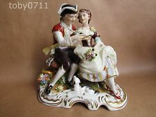 RUDOLSTADT PORCELAIN LARGE FIGURINE OF COURTING COUPLE WITH DOG & BIRD (Ref528)
