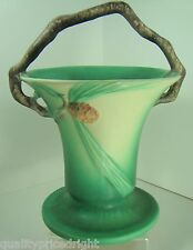 Roseville Art Pottery 1936 LARGE Pine Cone Pinecone Basket Green 338-10 ART DECO