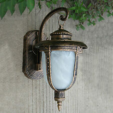 Outdoor Wall Light Exterior Lighting Fixture Bronze Lantern Glass Porch Lamp NEW