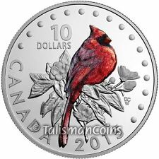 2015 Colorful Songbirds Birds Canada #1 Northern Cardinal $10 Silver Proof Color