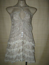 Designer Helengrant Summer plaid sheer ruched mini Frill DRESS size M