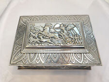 Large silver plated Egyptian revival Art deco casket/ box.