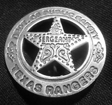 TEXAS RANGERS SERGEANT BADGE PESO BACK SOLDERED PIN