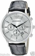 Authentic Emporio Armani Ar 2432, Black Strap White Dial Men's Chronograph Watch