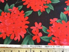 BRIGHT RED FLORAL ON HUNTER GREEN DRESS WEIGHT POLY-KNIT-2 YARDS