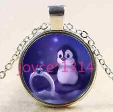 Vintage Cute penguins Cabochon Tibetan silver Glass Chain Pendant Necklace #2461