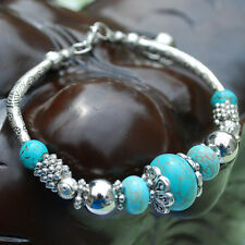 Tibetan Silver Round Turquoise Bead Adjustable Handmade Bangle Bracelet Jewelry